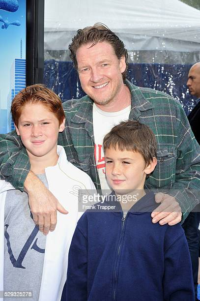Actor Donal Logue and his sons arrive at the premiere of Monsters vs Aliens held at Gibson Amphitheatre in Universal City