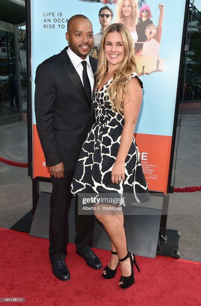 Actor Donald Faison and CaCee Cobb attend the premiere of Focus Features' 'Wish I Was Here' at DGA Theater on June 23, 2014 in Los Angeles, California.