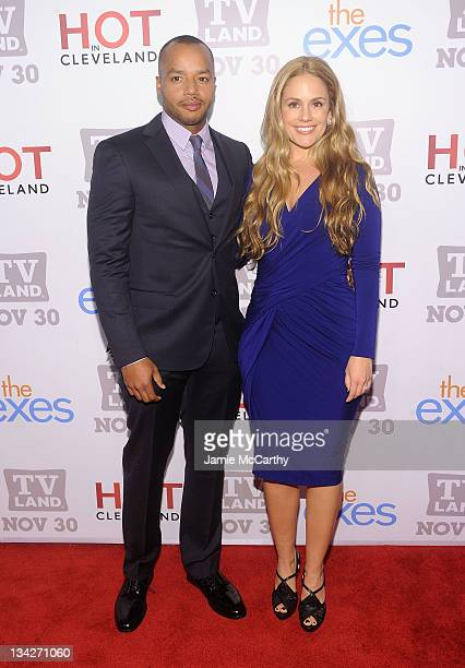 """Actor Donald Faison and Cacee Cobb attend the TV Land holiday premiere party for """"Hot in Cleveland"""" & """"The Exes"""" at SD26 on November 29, 2011 in New..."""