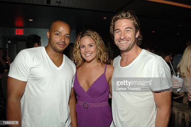Actor Donald Faison Cacee Cobb and actor Scott Speedman attend party in the The Pearl VIP Sky Lounge at the Palms Casino Resort on July 28 2007 in...