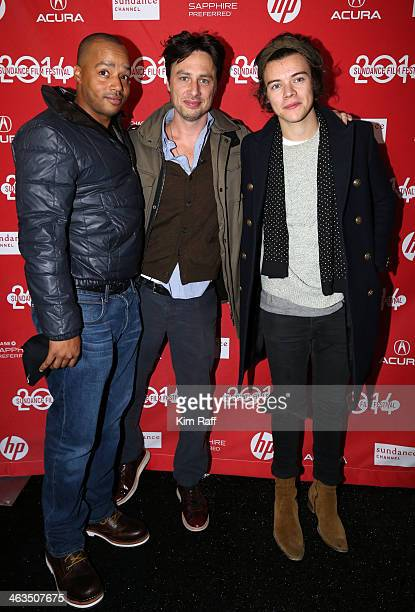 Actor Donald Faison director Zach Braff and singer Harry Styles attend the premiere of 'Wish I Was Here' at The Marc Theatre during the 2014 Sundance...