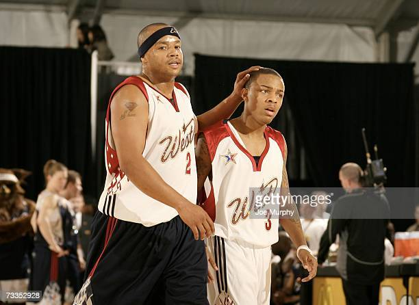 Actor Donald Faison encourages his teammate singer Bow Wow during the McDonald's NBA AllStar Celebrity Game Presented by 2K Sports at NBA Jam Session...