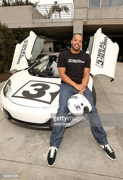 Actor Donald Faison previews EA's Real Racing 3 at EA Los Angeles on February 7 2013 in Playa Vista California