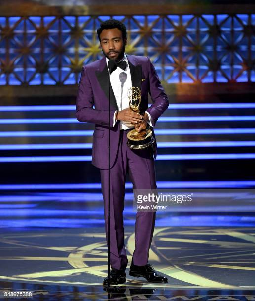 Actor Donald Glover accepts Outstanding Lead Actor in a Comedy Series for 'Atlanta' onstage during the 69th Annual Primetime Emmy Awards at Microsoft...