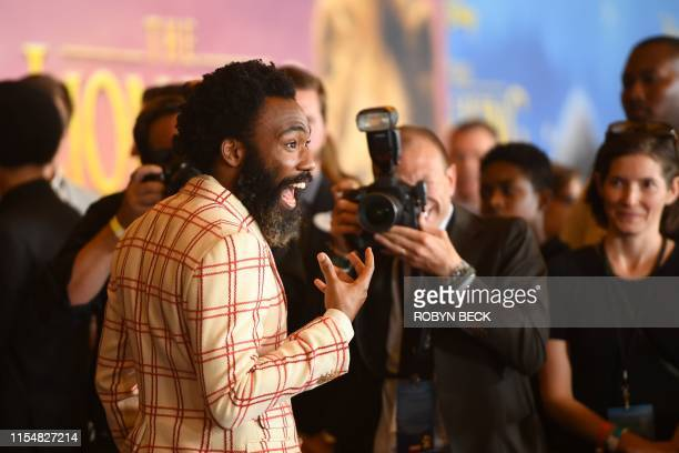 US actor Donald Glover arrives for the world premiere of Disney's The Lion King at the Dolby theatre on July 9 2019 in Hollywood