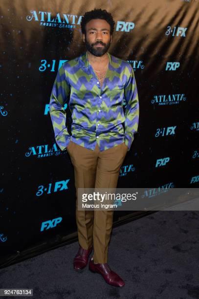 Actor Donald Glover attends the Atlanta Robbin' Season Atlanta premiere at Starlight Six Drive on February 26 2018 in Atlanta Georgia