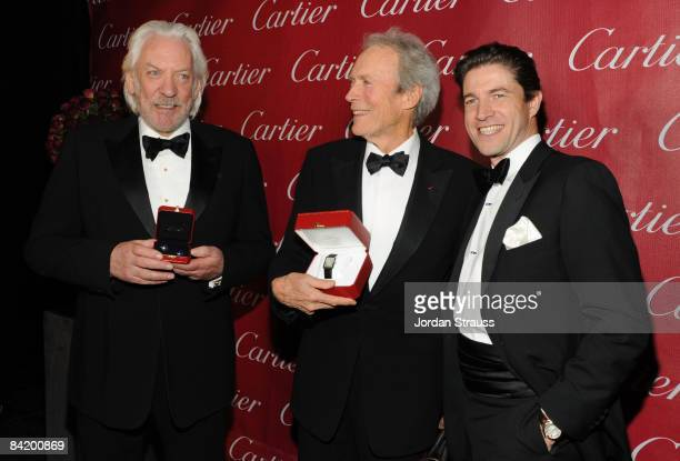 Actor Donald Sutherland Actor Clint Eastwood and CEO of Cartier Frederic de Narp attend the 20th anniversary of the Palm Springs International Film...