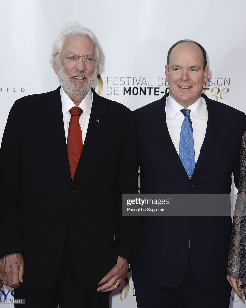 Actor Donald Sutherland and Prince Albert II of Monaco attend the opening ceremony of the 53rd Monte Carlo TV Festival on June 9, 2013 in Monte-Carlo, Monaco.