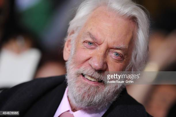 Actor Donald Sutherland arrives at the Los Angeles Premiere of 'The Hunger Games Catching Fire' at Nokia Theatre LA Live on November 18 2013 in Los...