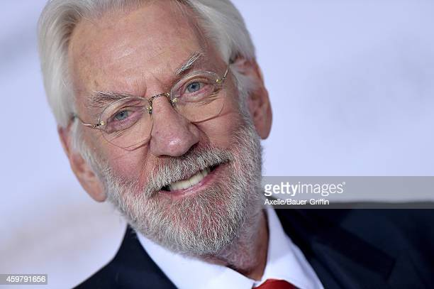 Actor Donald Sutherland arrives at the Los Angeles premiere of 'The Hunger Games Mockingjay Part 1' at Nokia Theatre LA Live on November 17 2014 in...