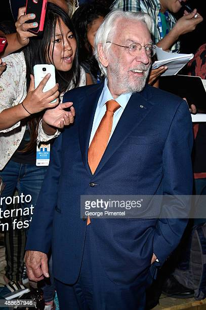 Actor Donald Sutherland attends the Forsaken premiere during the 2015 Toronto International Film Festival at Roy Thomson Hall on September 16 2015 in...