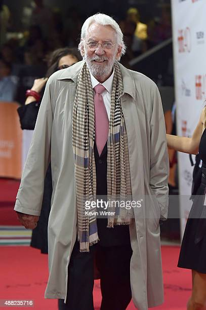 Actor Donald Sutherland attends the 'Hyena Road' premiere during the 2015 Toronto International Film Festival at Roy Thomson Hall on September 14...