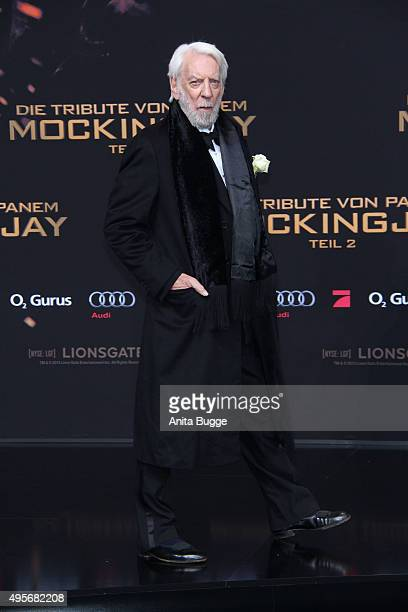 Actor Donald Sutherland attends the world premiere of the film 'The Hunger Games: Mockingjay - Part 2' at CineStar on November 4, 2015 in Berlin,...