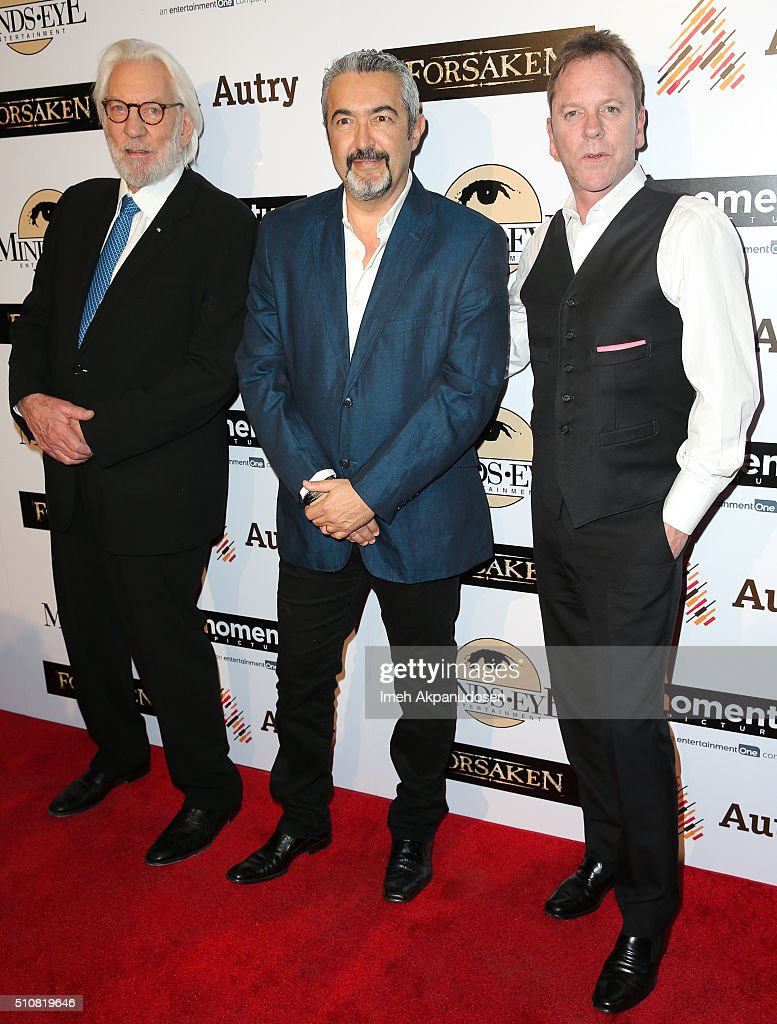 Actor Donald Sutherland, director Jon Cassar, and actor Kiefer Sutherland attend the screening of Momentum Pictures' 'Forsaken' at Autry Museum of the American West on February 16, 2016 in Los Angeles, California.