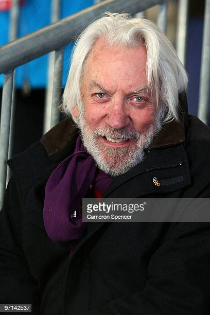 Actor Donald Sutherland looks on during the Curling Men's Gold medal game between Canda and Norway on day 16 of the Vancouver 2010 Winter Olympics at...