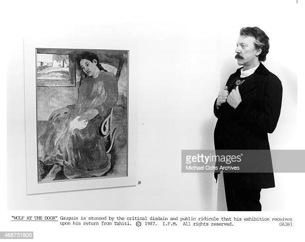 Actor Donald Sutherland on set of the movie Oviri circa 1987