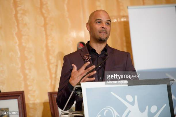 Actor Dondre Whitfield speaks on stage during the 2017 Black Women Film Summit Untold Stories awards luncheon at Atlanta Marriott Marquis on March 3...
