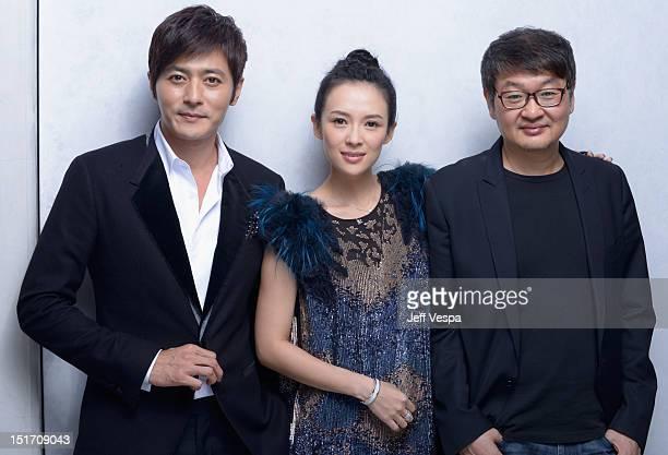 "Actor Dong-gun Jang, actress Ziyi Zhang and director Hur Jin-Ho of ""Dangerous Liasons"" pose at the Guess Portrait Studio during 2012 Toronto..."