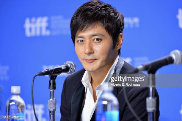 """Actor Dong-gun Jang speaks onstage at """"Dangerous Liaisons"""" Press Conference during the 2012 Toronto International Film Festival at TIFF Bell Lightbox..."""