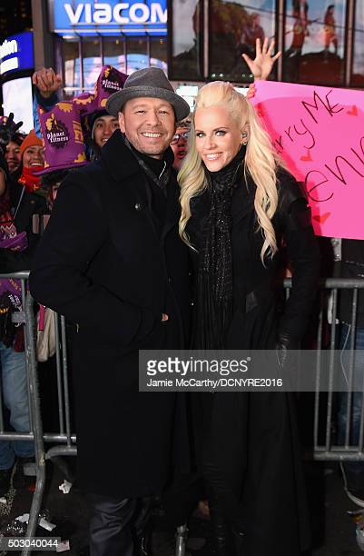 Actor Donnie Wahlberg and Host Jenny McCarthy pose on camera at the Dick Clark's New Year's Rockin' Eve with Ryan Seacrest 2016 on December 31 2015...