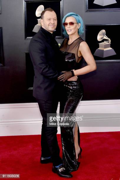 Actor Donnie Wahlberg and TV personality Jenny McCarthy attends the 60th Annual GRAMMY Awards at Madison Square Garden on January 28 2018 in New York...