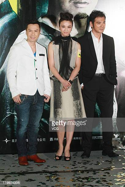 Actor Donnie Yen actress Tang Wei and actor Takeshi Kaneshiro attends 'Wu Xia' movie premiere on July 26 2011 in Hong Kong China