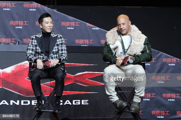"""Actor Donnie Yen and American actor Vin Diesel attend the press conference of film """"xXx: Return of Xander Cage"""" on February 9, 2017 in Beijing, China."""