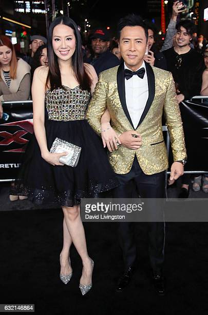 Actor Donnie Yen and wife model Cissy Wang attend the premiere of Paramount Pictures' xXx Return of Xander Cage at TCL Chinese Theatre IMAX on...