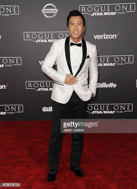 Actor Donnie Yen attends the premiere of 'Rogue One A Star Wars Story' at the Pantages Theatre on December 10 2016 in Hollywood California