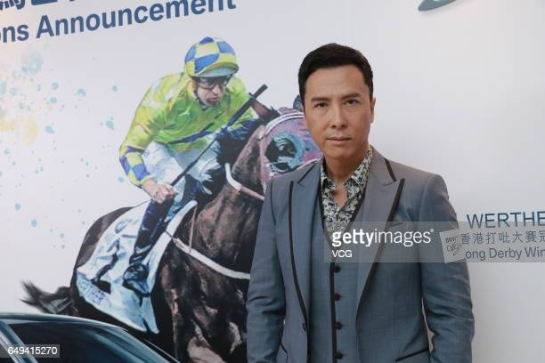 Actor Donnie Yen attends the press conference of BMW Hong Kong Derby Selections Announcement on March 8 2017 in Hong Kong China