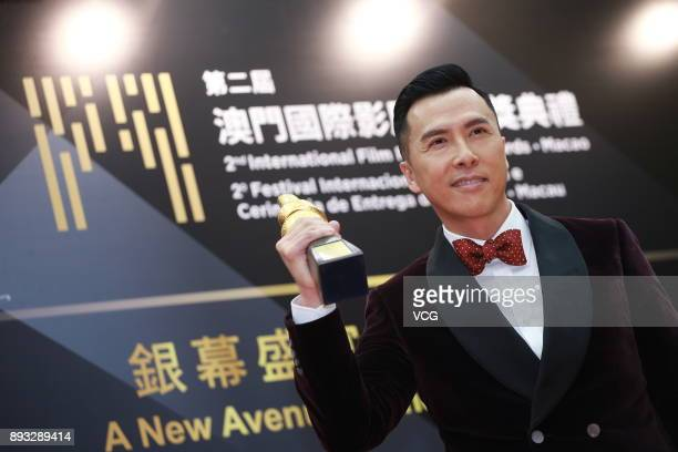 Actor Donnie Yen winner of International Star of The Year poses during the award ceremony for the 2nd International Film Festival Awards Macao on...