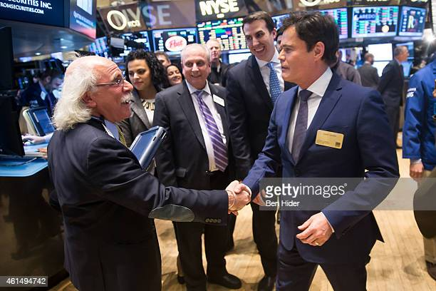 Actor Donny Osmond meets Peter Tuchman before ringing the Closing Bell at New York Stock Exchange on January 13 2015 in New York City