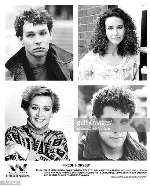 Actor Doug Hutchison actress Molly Hagan actress Patti D'Arbanville and actor Ben Stiller pose for the movie Fresh Horses circa 1988