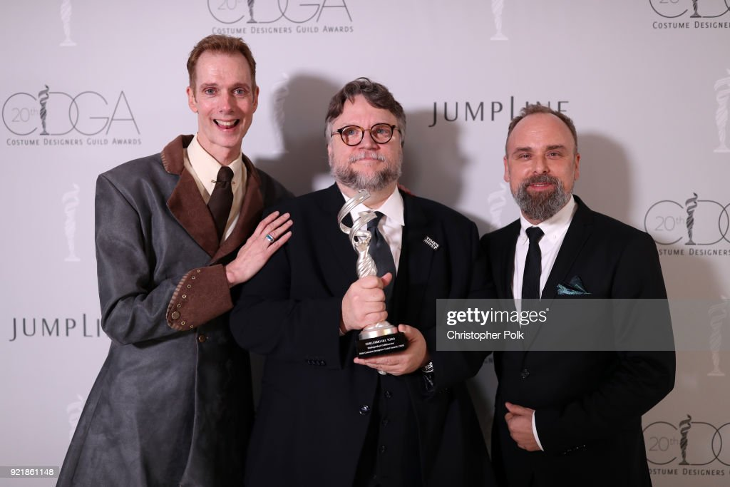 Actor Doug Jones, honoree Guillermo del Toro, recipient of the Distinguished Collaborator Award, and costume designer Luis Sequeira attend the Costume Designers Guild Awards at The Beverly Hilton Hotel on February 20, 2018 in Beverly Hills, California.