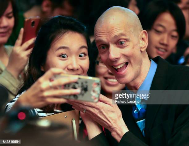 TORONTO ON SEPTEMBER 11 Actor Doug Jones poses for a selfie A red carpet premier was held for the movie The Shape of Water at the Elgin and Winter...
