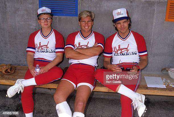 Actor Doug McKeon actor Bruce Penhall and actor Michael Damian attend Hollywood AllStars vs 'The Bold the Beautiful' Celebrity Softball Game on June...
