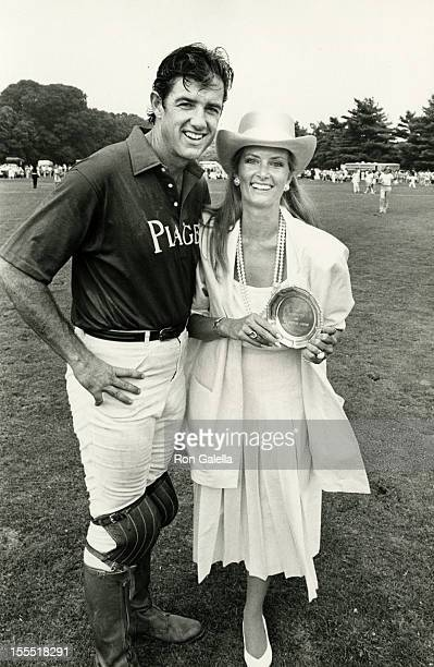 Actor Doug Sheehan and wife Cate Abert attend Old Westbury International Polo Cup on July 20 1985 at the Meadowbrook Polo Club in Beth Page New York