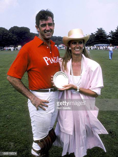 Actor Doug Sheehan and wife Cate Abert attend the Second Annual Shearson Lehman Brothers Old Westbury Gardens Invitational Polo Cup on July 20 1985...