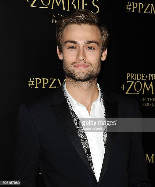 Actor Douglas Booth attends the premiere of Pride and Prejudice and Zombies at Harmony Gold Theatre on January 21 2016 in Los Angeles California