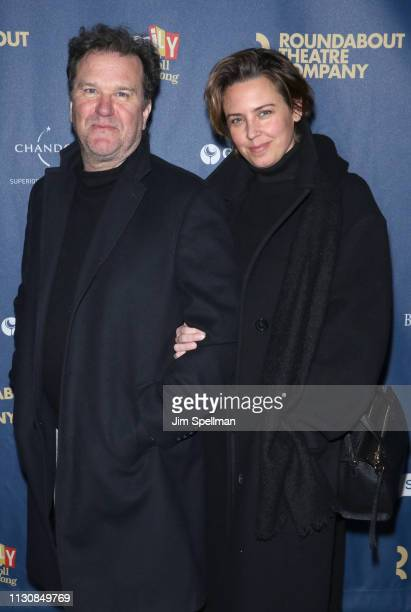 Actor Douglas Hodge and guest attend the Merrily We Roll Along opening night at Laura Pels Theatre on February 19 2019 in New York City
