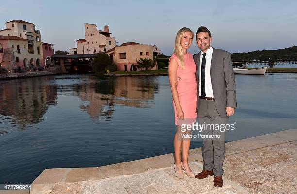 Actor Dougray Scott and Golfer Caroline Martens pose at the Gala Dinner following The Costa Smeralda Invitational Golf Tournament at Pevero Golf...