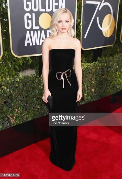 Actor Dove Cameron celebrates The 75th Annual Golden Globe Awards with Moet Chandon at The Beverly Hilton Hotel on January 7 2018 in Beverly Hills...