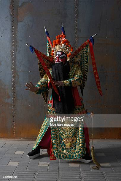 Actor dressed as traditional Beijing Opera Army General posing in martial arts stance.