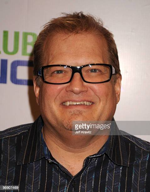 Actor Drew Carey arrives at The Peewee Herman Show Los Angeles Opening Night at Club Nokia on January 20 2010 in Los Angeles California
