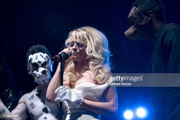 Actor Drew Kuhse, actress Pamela Anderson and guest on stage at the 4th Annual Gridlock 2010 New Year's Eve Bash at Paramount Studios on December 31,...