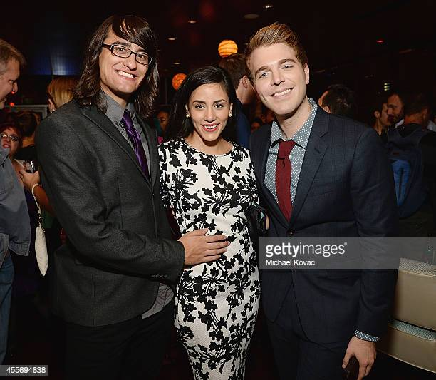Actor Drew Monson actress Michelle Veintimilla and actor/director Shane Dawson attend the Los Angeles Premiere of Not Cool after party at Landmark...