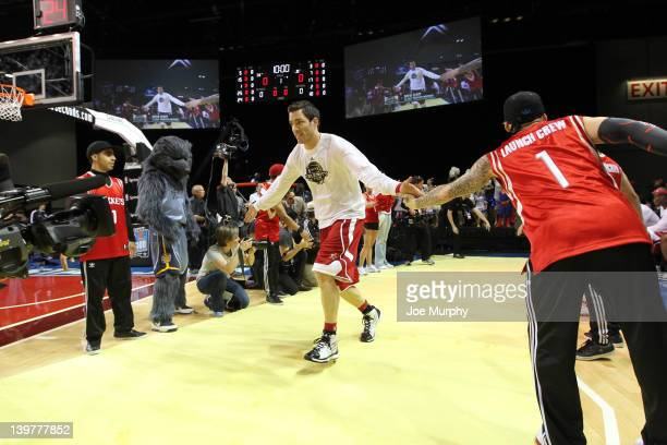 Actor Drew Scott of the West team is announced during the Sprint AllStar Celebrity Game on center court at Jam Session during the NBA AllStar Weekend...