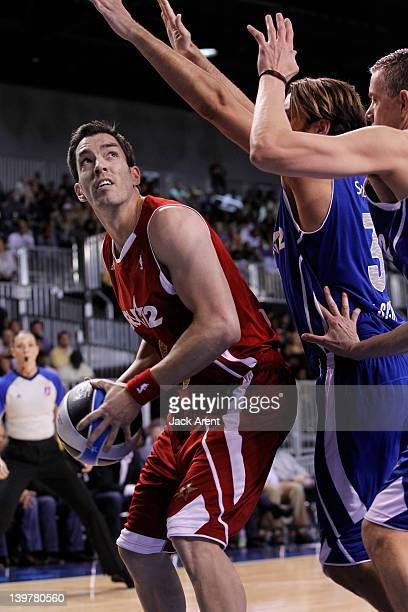 Actor Drew Scott shoots during the Sprint AllStar Celebrity Game on center court at Jam Session during the NBA AllStar Weekend on February 24 2012 at...