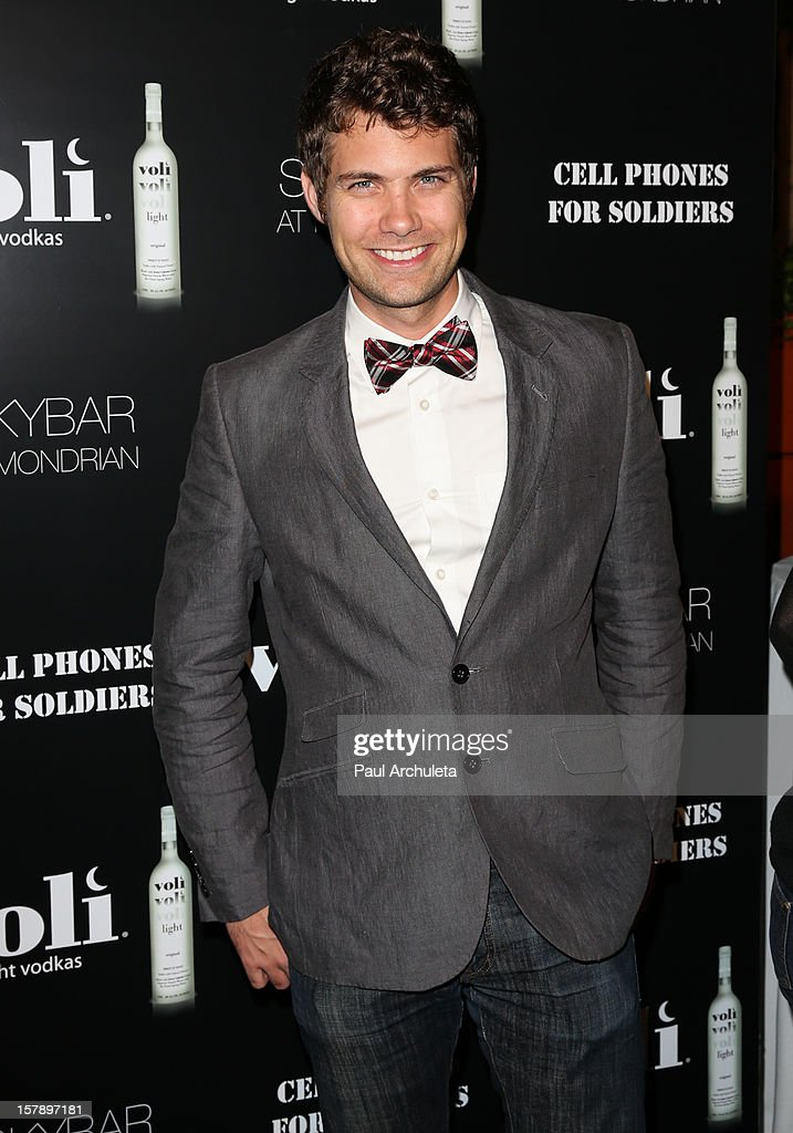 Actor Drew Seeley attends the Cell Phones For Soldiers charity event sponsored by Voli Light Vodka at Sky Bar in the Mondrian Hotel on December 6, 2012 in West Hollywood, California.