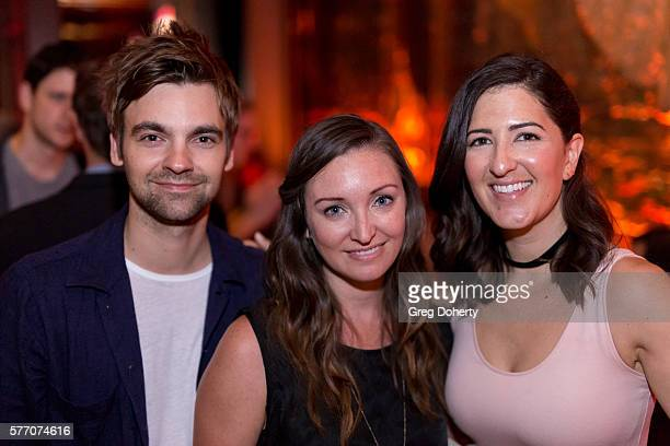 Actor Drew Tarver, Costume Designer Kerry Hennesy and Actress D'Arcy Carden pose for a picture at the 2016 Outfest Los Angeles Closing Night Gala Of...